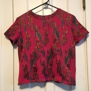 Zara Trafaluc metallic magenta crop top tee shirt